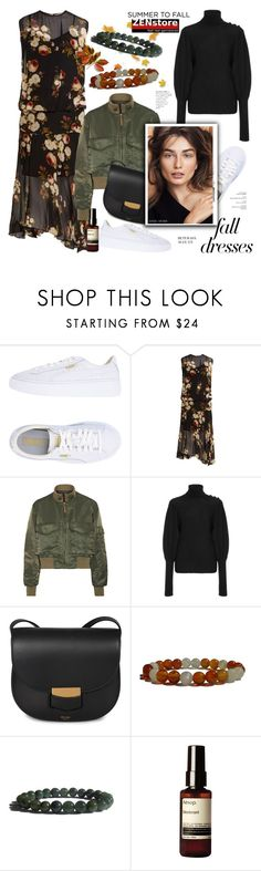 """Fall Fashion: Dresses"" by zenstore ❤ liked on Polyvore featuring Puma, Preen, Nili Lotan, Ulla Johnson, CÉLINE, Aesop, Bobbi Brown Cosmetics and falldresses"