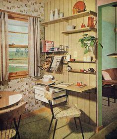 Kitchen office, 1960 I love kitchen offices. I want one SO BAD 70s Decor, Retro Home Decor, Vintage Decor, Mid Century Decor, Mid Century House, Mid Century Design, Retro Room, Vintage Interior Design, Vintage Kitchen