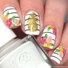 Pineapple and floral nail art! Perfect for summer, using only one nail polish & acrylic paint!