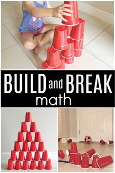 Build and Break Math STEM Activity. So much fun for counting and experimenting with force and motion in preschool and kindergarten Math Activities For Kids, Math For Kids, Kindergarten Math, Fun Math, Preschool Activities, Stem Preschool, Numbers Preschool, Montessori Preschool, Montessori Elementary