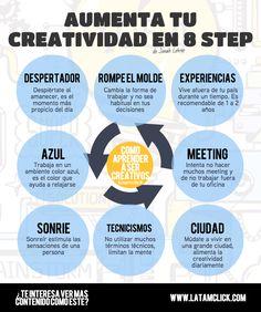 Aumenta tu creatividad en 8 pasos #infografia #infographic #socialmedia