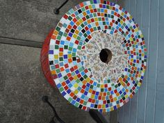 my mosaic table from a wooden wire spool