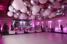 40th Birthday Decorations, Pink Party Decorations, 18th Birthday Party, Birthday Ideas, Balloon Ceiling Decorations, Baloons Wedding, Bar Mitzvah Themes, Bat Mitzvah, Lounge Party