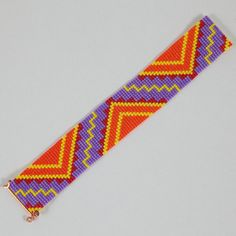 Native American Colorful ZigZag Bead Loom Cuff by PuebloAndCo