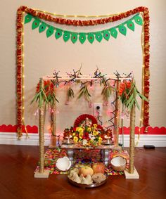 Ganesh pooja without palavelli seems incomplete. In the southern part of India, especially Andra Pradesh it is a tradition to hang the wodden grid called palavelli above Lord Ganesha during Ganesh … Mandir Decoration, Ganpati Decoration At Home, Ganapati Decoration, Diwali Decorations, Flower Decorations, Housewarming Decorations, Flower Garlands, Ganesh Pooja, Sri Ganesh
