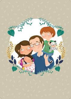 Illustrated family portrait by Tarsila Krüse Family Illustration, Tree Illustration, Portrait Illustration, Character Illustration, Picture Room Decor, Family Picture Poses, Family Posing, Family Pictures, Family Drawing