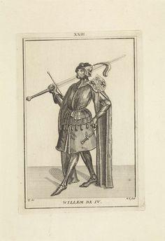 Hendrik Spilman | Portret van Willem IV, graaf van Holland, Hendrik Spilman, Anonymous, 1745 | Portret van Willem IV, graaf van Holland, staande naar links in een harnas. Op zijn schouder het wapen van Holland en Henegouwen en in zijn hand een zwaard. Midden boven: XXIII.