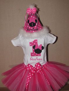 Minnie Mouse Birthday Tutu Set in Light Pink and by bloomnbows, $45.00