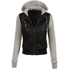 LE3NO Womens Faux Leather Moto Bomber Jacket with Fleece Hoodie ❤ liked on Polyvore featuring outerwear, jackets, blouson jacket, faux-leather bomber jackets, stitch jacket, pocket jacket and imitation leather jacket