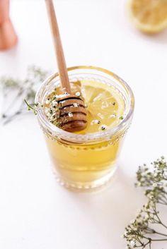 Chamomile, elderflower, honey & whiskey cocktail