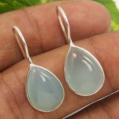 925 Sterling Silver Jewelry Nice Earrings Natural AQUA CHALCEDONY Pear Gemstones #Unbranded #Stud