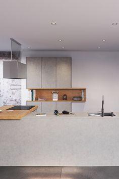 Deze ruime Atlas betongrijs geeft een industriële look aan je interieur. De keuken is ontworpen in een U-opstelling en kent houten details in de vorm van een open kast en keukenblad. De keuken is uitermate geschikt voor de kookgek. Zo is er tal van werkruimte beschikbaar en is de keuken in het bezit van een grote onderbouw oven. Bekijk de keuken op de website. Kitchen Interior, Interior Design Living Room, Living Room Designs, Kitchen Design, Fixer Upper Kitchen, Green Interior Design, Kitchen On A Budget, Home Kitchens, Bedroom Decor