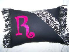Handmade Zebra Decorative Throw Pillow with hot pink R
