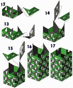 Vase origami of the modules in diagram 2 Origami Lamp, Origami Star Box, Origami Paper Art, Origami Fish, Origami Hearts, Origami Flowers, Paper Craft, Modular Origami, Origami Folding