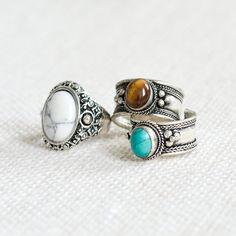 Turquoise tibétaine bijou bijou Bohème anneau - Tigers Eye - Boho brassard-Vintage argent amulette bijoux-pouce anneaux - pierre gemme opale-réglable