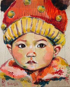 Child of Burma -- by Stéphanie Ledoux; Freedom to Travel Painting For Kids, Artist Painting, Collages, Art Fantaisiste, Ledoux, Sketchbook Drawings, Art Thou, Baby Portraits, Amazing Drawings