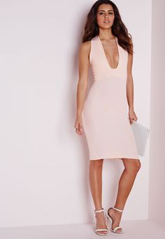 Missguided - Plunge Midi Dress Baby Pink