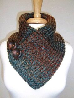 """Diy Crafts - N.M """"ಌ✿༺✿Bufandas Tejidas ღ✿༻ Knitted Neck Warmer Rust Turquoise Brown Buttoned Scarf Cowl Neck Warmer Scarflette"""", """"Unavailable Crochet Scarves, Crochet Shawl, Crochet Clothes, Knit Crochet, Loom Knitting, Free Knitting, Knitting Patterns, Crochet Patterns, Knitting Projects"""