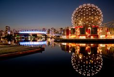 Science World at dusk in Vancouver.