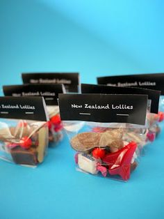 Kiwi sweets wedding favor bags
