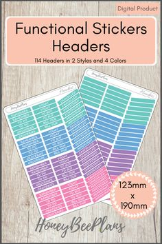 114 Functional Headers stickers in 4 colors, Pink, Blue, Green and Purple and 2 Styles. This sticker kit is designed for planning in your planner. Printable downloadable file allows you to print and cut either by hand or with a cutting machine of your choice. Printable Planner Stickers, Printables, Green And Purple, Pink Blue, Print And Cut, Headers, Kit, Colors, Design