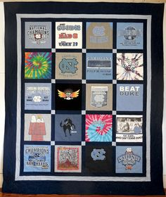 March Madness! Classic T-Shirt Quilt with UNC College shirts - perfect for a graduation gift