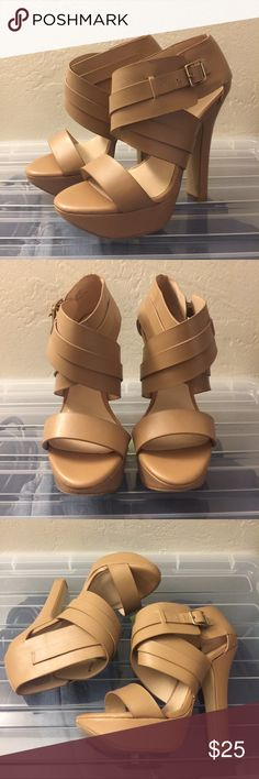 """JustFab nude strappy platform heels size 8M Excellent condition JustFab heels. Perfect for any occasion. Heel measures 5"""" and platform is 1.5"""". Comes from a smoke/pet free household. Fit is TTS JustFab Shoes Heels"""