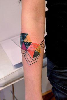 Colorful Geometric Tattoos Color Geometric Tattoos by