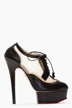 CHARLOTTE OLYMPIA Black Brogued leather Astaire Platform heels