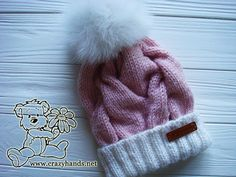 I'm happy to share a new cable knit hat pattern. It's made with winter yarn and has a folded brim to keep you warm even during the coldest and snowiest days of the winter. It also has a modern shape, stylish wide cables, luxurious fur pom pom, and pink and white color yarns that make it look as yummy marshmallows.
