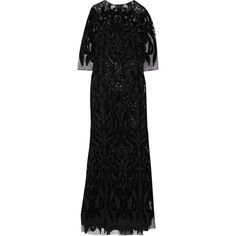 Marchesa Notte - Velvet And Sequin-embellished Tulle Gown (7.587.345 IDR) ❤ liked on Polyvore featuring dresses, gowns, gown, black, velvet gown, vintage ball gowns, sequin evening gowns, sequin evening dresses and vintage dresses