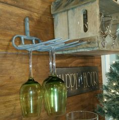 Pitch fork wine glass holder