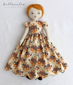 """a bellasofia beauty """"Violet"""" heirloom quality vintage inspired rag doll - Absolutely stunning! Beginner Sewing Patterns, Doll Patterns Free, Sewing Patterns For Kids, Fabric Dolls, Paper Dolls, Rag Dolls, Doll Crafts, Diy Doll, Softies"""