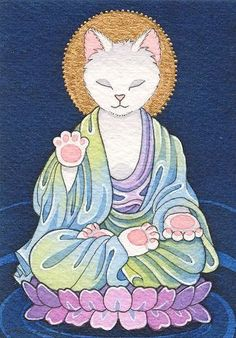 I often referred to my calico as my little Buddha cat. Cats have relaxation down to an art form. Crazy Cat Lady, Crazy Cats, I Love Cats, Cool Cats, Image Nature, Little Buddha, Maneki Neko, Here Kitty Kitty, Kitty Cats