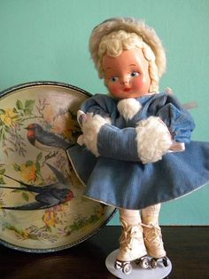 Vintage Doll on Roller Skates in Blue Corduroy Dress with Matching Muff and Hat Lenci Style  Plastic Face