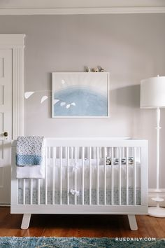 Soft blue and gray baby nursery. What a lovely, calm, peaceful nursery. I kinda want to decorate my own bedroom like this. I can't imagine any baby that would have sleep problems in this room. Grey Nursery Boy, White Nursery, Nursery Neutral, Nursery Room, Nursery Decor, Nursery Ideas, Nautical Nursery, Calming Nursery, Light Blue Nursery