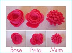 Felt Flower Tutorials... Instructions for making several different kinds of flowers!