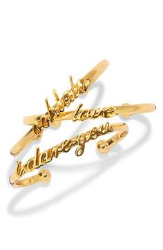 "Love these playful script bracelets by kate spade.  ""I dare you - love - and ooh la la"" http://rstyle.me/n/e3ckynyg6"
