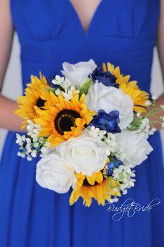 Horizon Blue Weddings, Blue Yellow Weddings, Yellow Wedding Colors, Blue Wedding Flowers, Real Flowers, Cascade Bouquet, Blue Bouquet, Cascading Bouquets, Yellow Flower Arrangements