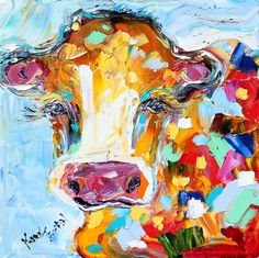 Fine art Print Abstract Little Cow made from image of oil painting by Karen Tarlton - impressionistic whimsical art by Karensfineart on Etsy https://www.etsy.com/listing/106547053/fine-art-print-abstract-little-cow-made