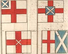 Flags designed by the Earl of Nottingham in 1604 for a United Kingdom of England and Scotland