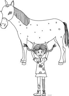 Pippi Langkous Paard Kleurplaat Pippi On The Horse Coloring Pages For Kids Printable Free