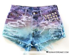 tye-dye and studded shorts in mermaid colors