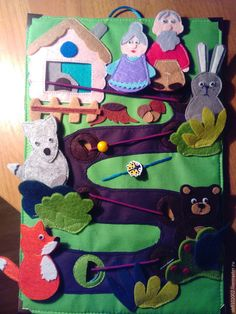 Каждая мама знает, что самые лучшие игрушки для малыша те, которые мы сделали своими руками с любовью. Хочу показать, как можно сшить пальчиковые игрушки для своего ребенка. Русская народная сказка «Колобок». Материалы для работы: фетр 20*30см толщина 3 мм; хлопчатобумажная зеленая ткань 22*32 см; ножницы, иголка, нитки, клей; фетр 1 мм толщиной разных цветов; декоративные глазки; металлические уголки; резинка 50 см; желтая бусина; флизелин.