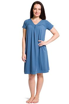 897a529303 Fishers Finery Womens Tranquil Dreams Short Sleeve Nightgown Comfort Fit  Moonlight Blue XXLarge