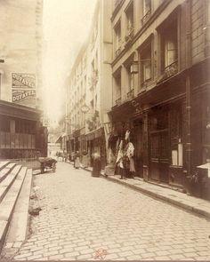 Vue de la rue des Anglais vers 1902-1903. Une photo d'Eugène Atget  (Paris 5ème)