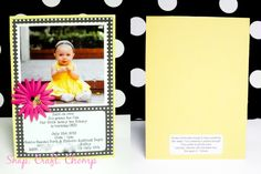 Bumble Bee Themed 1st Birthday Invitation, yellow and black with polka dots. My daughters 1st birthday invites https://snapcraftchomp.wordpress.com/2013/03/11/bumble-bee-1st-birthday-invitation/