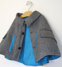 upcycled suit coat to kid's cape