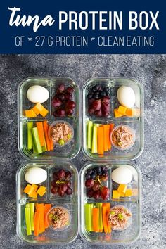 Tuna protein box is filled with protein-packed foods: tuna salad, cheese, and hard boiled eggs. Inspired by the Starbucks protein box! Ready in minutes, and perfect for delicious on the go snacks and lunches! Gluten-free, clean eating and 27 g of protein per box. #sweetpeasandsaffron #protein #starbucks #mealprep #tuna #glutenfree #snack via @sweetpeasaffron