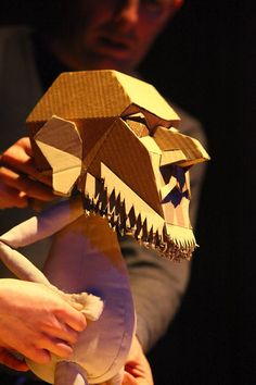"Moses, the cardboard hero of Blind Summit's ""The Table,"" presented by Chicago Shakespeare Festival as part of the inaugural Chicago International Puppet Theater Festival. (Photo by Nigel Bewley)"